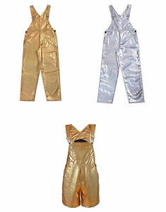 METALLIC DUNGAREES FESTIVAL GAY PRIDE PARTY WEAR WOMENS PVC LOOK SHINY CATSUIT