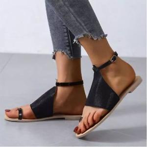 Women's Flats Summer Flip Flops Gladiator Ankle Strap Buckle Thong Roman Sandals
