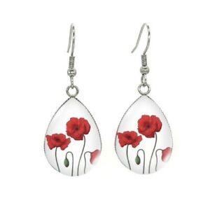 Anzac Flower Red Tear Drop Hook Poppies Glass Dome Cabochon Earring Jewelry