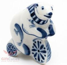Gzhel porcelain figurine of a Bear riding a bicycle souvenir hand-painted