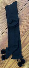 Steve Madden Socks Over The Knee Pom-Pom Cable Knit Black NWT