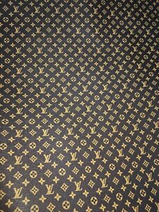 Louis Vuitton LV Brown Leather Monogram Small Print Fabric