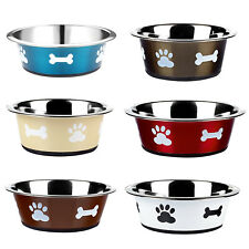 More details for dog cat rabbit pet animal bowls small large metal stainless steel dish classic