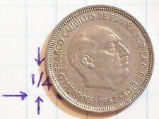 COIN SPAIN 1957 5 PTAS PESETAS COPPER NICKEL FRANCISCO FRANCO CAUDILLO DE ESPANA