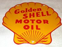 "VINTAGE GOLDEN SHELL GASOLINE DIECUT 11 3/4"" PORCELAIN METAL OIL SIGN PUMP PLATE"