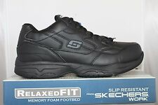 Skechers FELTON 77032 Memory Foam Slip Resistant Work Shoes Black Medium Wide