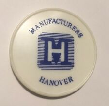 VTG MANUFACTURERS HANOVER Bank Metal Magnet IN PLASTIC Advertising REFRIGERATOR