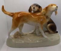 🔥Vintage large Royal Dux Bohemia Porcelain Figurine 2 Hunting Dogs Collectible