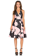 HALSTON HERITAGE Floral Print Faille Halter Neck Fit & Flare Dress ( size 6)