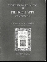 """Pietro Lappi """" CANZON 26 ~ La Negrona """" 4 Trompeten u. 4 Posaunen ~ Partitur"""