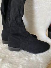 asos design kayden flat thigh high boots in black Size 9