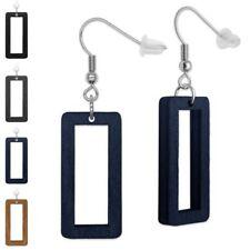 1 Pair Square Wood Earrings Rectangular Black Blue Gray Beige Ladies