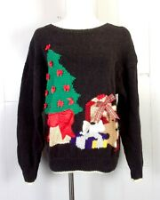 vtg 80s 90s Marisa Christina Ugly Christmas Sweater Pixelated Terrible 44 bust