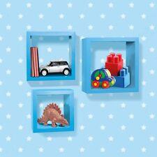 Kids Childrens Blue 3 Piece Cube Wall Shelves Floating Shelf Storage Solution