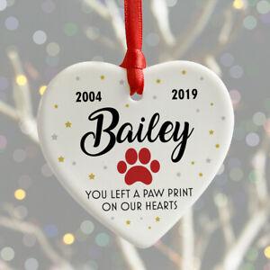 Personalised Pet Remembrance Christmas Keepsake Heart Bauble DOG CAT Memorial