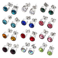 Mens Womens Crystal Rhinestone Birthstone Stainless Steel Ear Stud Earrings Pair