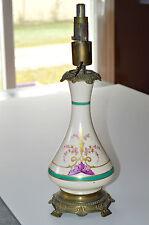 JOLI PIED de LAMPE à PETROLE PORCELAINE peinte Main XIXe socle bronze déco