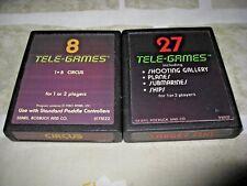 2 Tele-Games Atari 2600 Game Cartridge Cleaned Circus/shootgGal/Plane/Sub/Ships