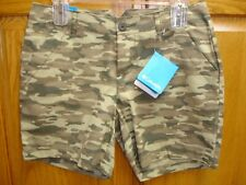 WMN'S/JR'S COLUMBIA KENZIE COVE PRINTED SHORTS-SIZE 12-GREEN/BROWN