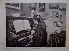 GRAVURE SUR BOIS 19 EME LA LECON DE PIANO