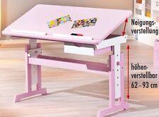 SCHREIBTISCH MDF / Massivholz, weiß / pink, höhen- und neigungsverstellbar NEU