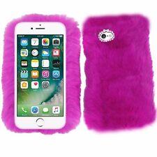 Dark Purple Fluffy Soft Fur Fury Case Cover For Apple iPhone 7