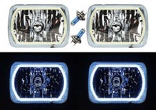 "7X6"" White SMD LED Halo Angel Eye Headlight 55/60W Xenon Halogen Light Bulb Pair"