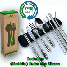 Portable Utensils Set W/Boba tea Straw. Replace All Single-use Plastic On The Go