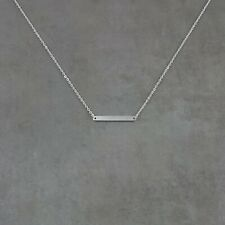 Rounded Bar SILVER Plated Horizontal Necklace in Gift Box Simple Jewelry Trendy