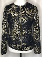 NWT Peck and Peck Black/Gold Zip Front Jacket Blazer Long Sleeve Lined Small