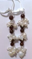 GORGEOUS PAIR OF 925 SILVER NATURAL PEARL/MOZAMBIQUE GARNET EARRINGS. (BB)