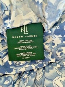LAUREN Ralph Lauren BLUE PORCELAIN Tamarind  Full/ Queen DUVET 2 RUFFLED Shams