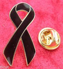 Black Ribbon Lapel Pin Badge Awareness Brooch