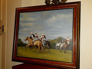 Large Oil Painting of Polocrosse Sport Scene with Horses