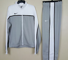 NIKE DRI FIT BASKETBALL WARM UP SUIT JACKET + PANTS WHITE GREY NEW (SZ X-SMALL)