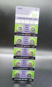 AG12 X 10 also known as LR43, G12A, 1176A, 186-1, RW8 Alkaline Button Batteries