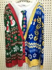 Faux Real Hanukkah Christmas Ugly Holiday Shirt with Tie Size Large