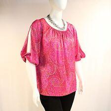 jones new york signature plus size 1x pink satin split sleeve blouse