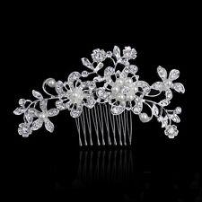 Elegant Bridal Wedding Hair Comb Pearl Crystal flower leaf Headpiece  Fascinator