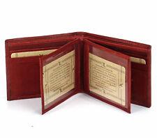 Mens Genuine Leather Bifold Wallet Card ID Window Billfold Double Center Flaps