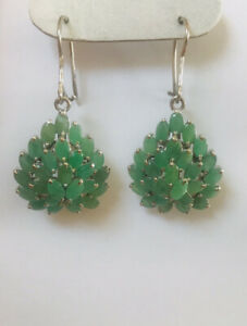 925/Silver Dangle Hoop Heart Earring With Natural Oval Emerald 9.00GM