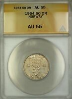 1954 Norway 50 Ore Coin ANACS AU-55