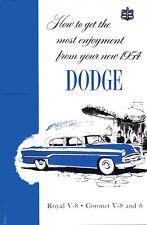 1954 Dodge Owners Manual Royal Coronet Meadowbrook Sierra Suburban Owner Guide