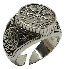 Viking Ring Vegvisir Rune Compass Norse Nordic Celtic  Silver Tone Adjustable