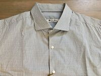 485$ Loro Piana Blue Plaid Long Sleeve Cotton Shirt Size XXL Made in Italy