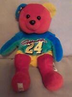 "Vtg 1999 Jeff Gordon #24 NASCAR Team beans authentic  Bears Plush 8"" Teddy Bear"