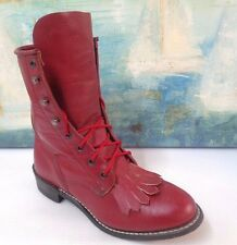 LACER RED LEATHER LACE-UP ROPER COWBOY WESTERN BOOTS SZ 5M