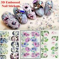 Art Beauty Women Fashion Water Decals Embossed Flower 3D Engraved Nail Stickers