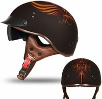 DOT Approved Unisex Half Motorcycle Helmet w/Sun Visor & Quick Release Buckle