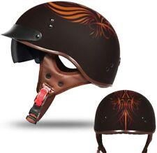 DOT Approved Unisex Half Motorcycle Helmet w/Sun Visor & Quick Release Buckle